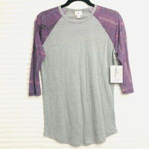 LuLaRoe Randy Heather Purple Gray Shirt